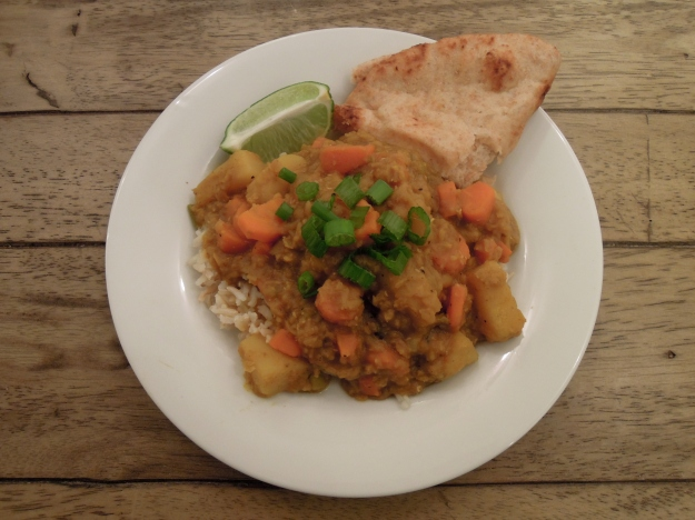 super simple to make: red lentils, scallions, carrots, potato & curry powder