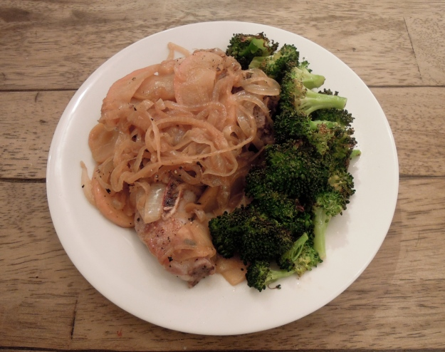 Pork Chops with Apples & Onions (and roasted broccoli)