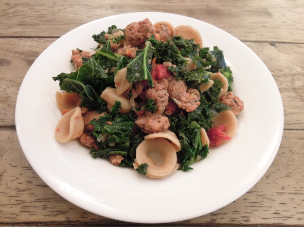Whole Wheat Orecchiette, spicy sausage, and kale