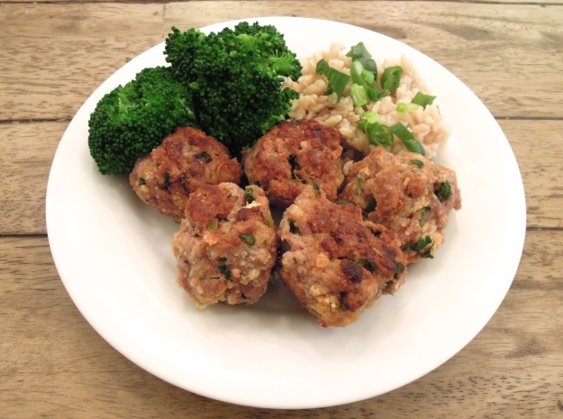 Asian Pork Meatballs served with brown rice and steamed broccoli