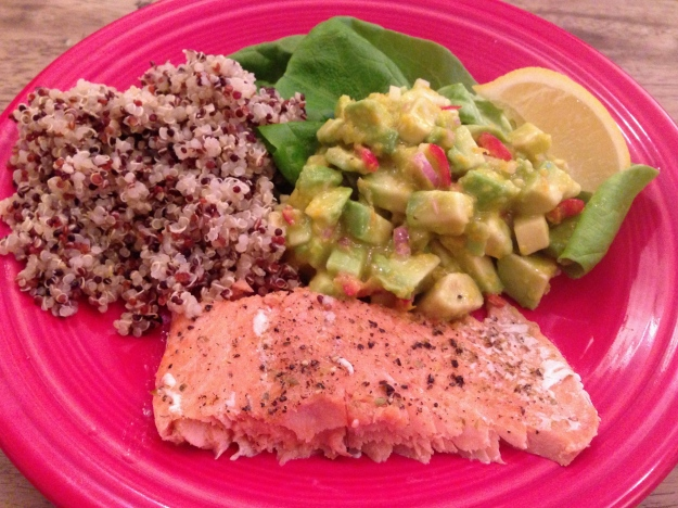 slow roasted salmon with avocado salad via abalancedlifecooks.com