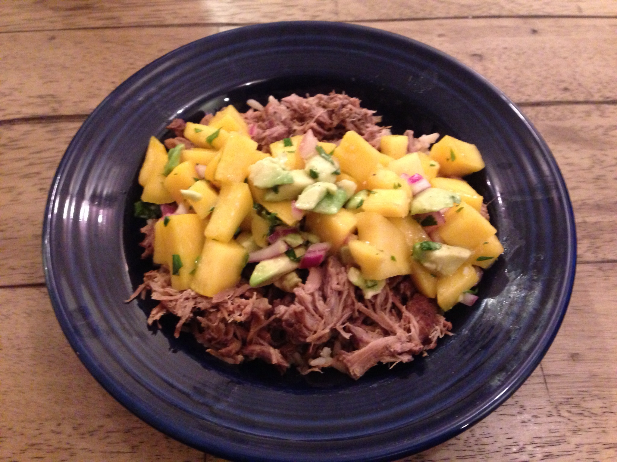 Slow Cooked Jerk Pork with Caribbean Salsa via Skinnytaste.com