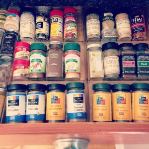 You guys, I have a spice DRAWER! Easy to find what I need +  less stuff on the counter = winning!