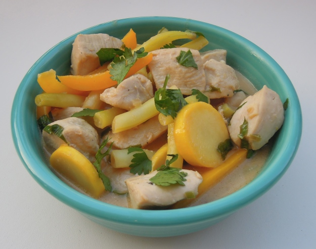 Chicken & veggies in a coconut-peanut sauce