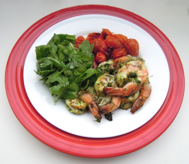 Pesto grilled shrimp with arugula salad & oven-roasted tomatoes
