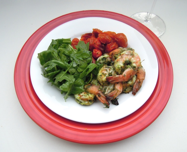 pesto grilled shrimp via ABalancedLifeCooks.com