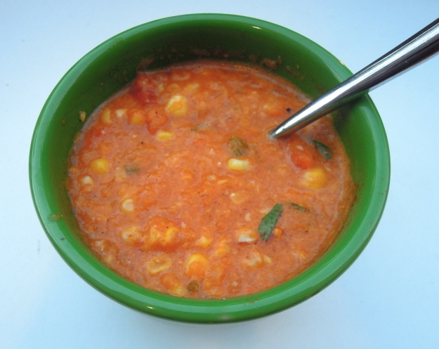 Roasted tomato & Corn soup