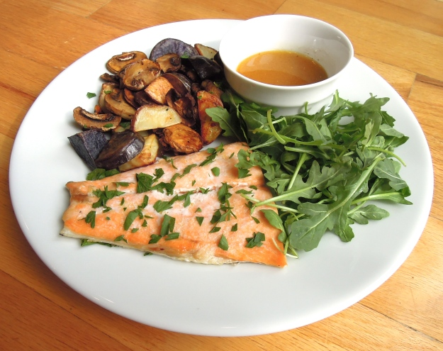 Roasted Salmon with Mushrooms and Potatoes. ABalancedLifeCooks.com