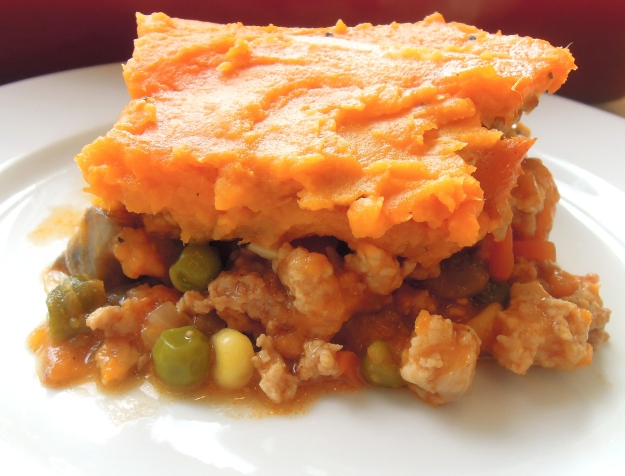 Sweet Potato Turkey Shepherd's Pie. A lighter, healthier version of the original with a delicious mashed sweet potato topping.