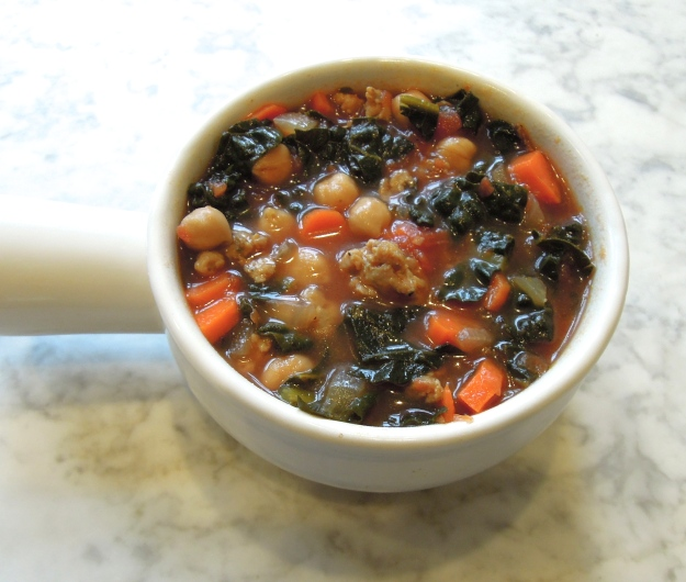 Kale Sausage Chickpea Soup
